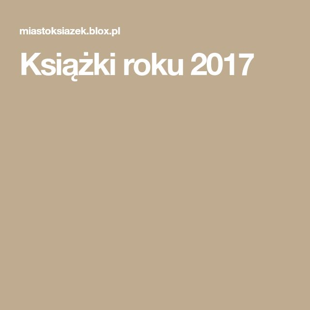 Książki roku 2017