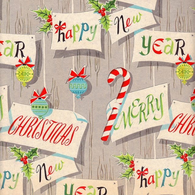 Such a fun vintage Christmas wrapping paper pattern. #vintage #Christmas #gift_wrap