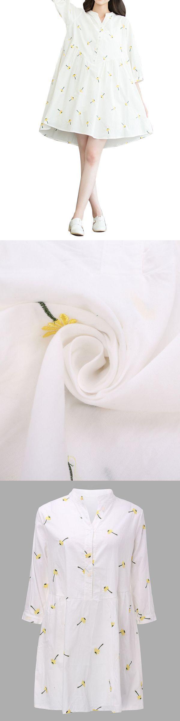 Floral dresses boho vintage flower embroidery v neck linen women mini shirt dress #floral #dresses #80s #floral #dresses #house #of #fraser #floral #dresses #online #shopping #philippines #zimmermann #floral #dress