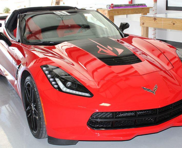 Red Corvette Stingray With Custom Black Carbon Fiber Hood