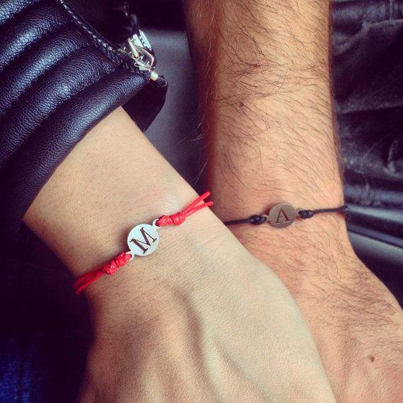 Red Thread Initial Bracelet, Letter Bracelet, Letter Charm Bracelet, Initoal Jelewry, Engraved Bracelet, Charm Letter Jewelry
