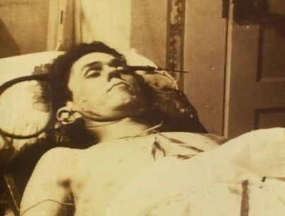 Clyde Barrow after shot to death in a car that Bonny and ...