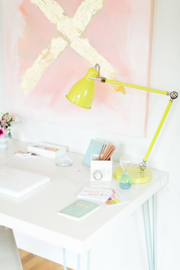 Pretty things on a cool DIY Ikea hack desk via Style Me Pretty. Ooh and the pastel colors in this desk area! Photography: Ruth Eileen - rutheileenphotography.com