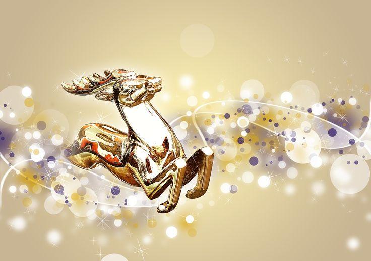 Christmas, Hirsch, Festive, Gold, Gloss, Glitter