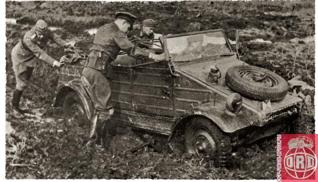 Even the trusty VW Type 82 Kubelwagen had a tough time navigating the thick muddy roads during operations in Russia