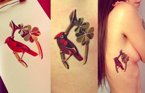 Direction Saint Pétersbourg pour découvrir le travail d'une artiste tatoueur déjà mondialement connue et dont la réputation n'est plus à faire, Sasha Unisex. Elle transporte à travers ses créations de belles aquarelles géométriques colorées, tels des prismes éclatants sur la peau. L'absence de contour et d'effet d'ombrage permet à ses tatouages d'être d'une grande douceur. La couleur dans le tattoo c'est pas mon dada mais lorsque son traitement est bien fait, c'est dur de ne pas aimer.