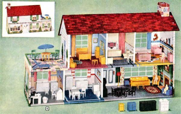 A Marx metal house and plastic furnishings in the 1957 Montgomery Ward Toy Catalogue p.189. I had one just like this:)