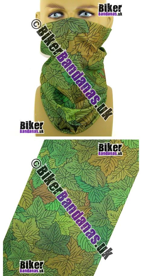 Just Arrived:  Green Leafy Leaves Multifunctional Headwear / Neck Tube Bandana. One of over 400 Neck Tube styles.