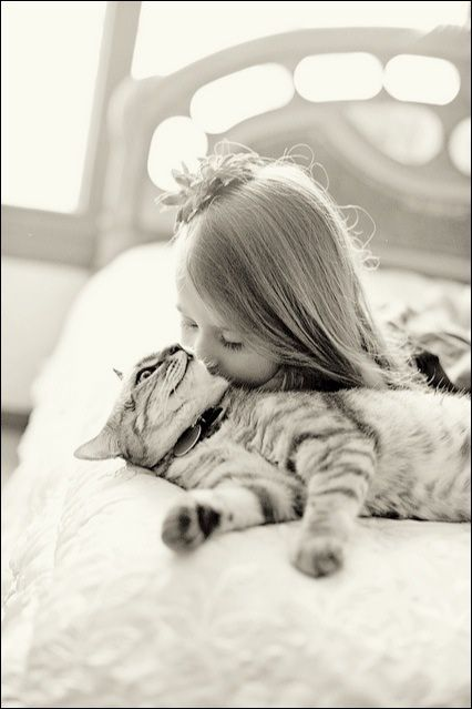 love between a girl and her cat......