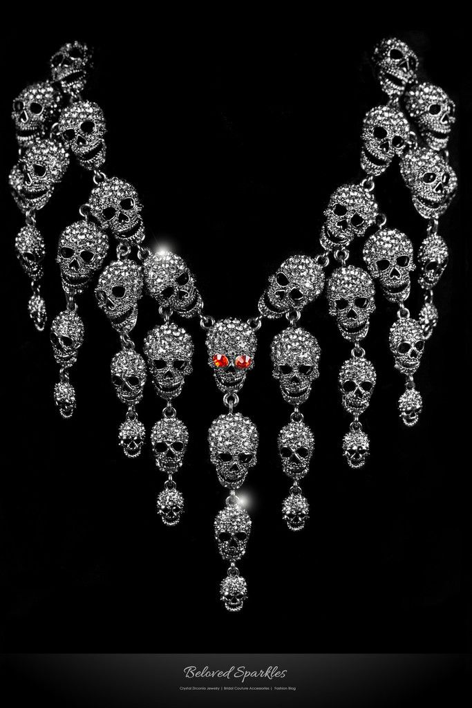 Skulls Cluster Clear Diamond Silver Goth Fashion Necklace | Crystal
