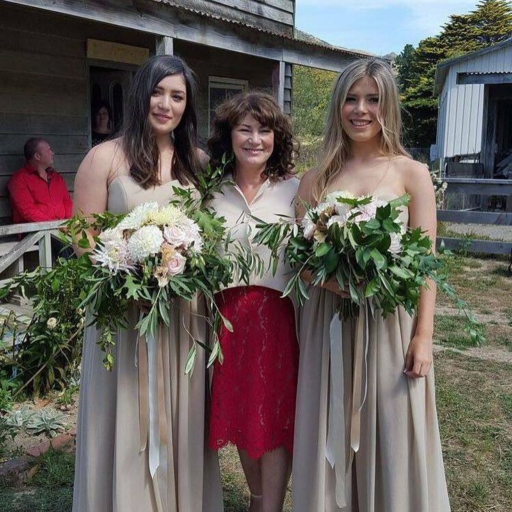 Beautiful Bridesmaids wearing the #Georgia dress in champagne by Sally Eagle. #bridesmaids #sallyeaglebridal