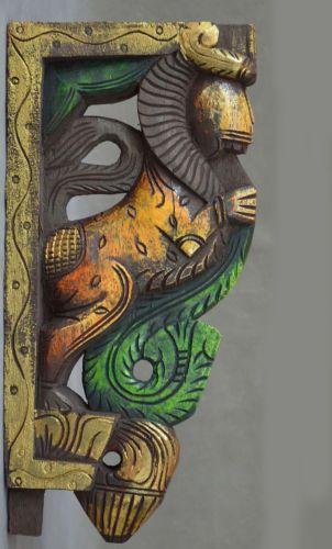Indian Painted Wooden Carving Corbel Corner Bracket Lion