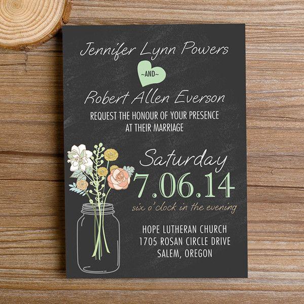 Boho Rustic Wedding Invitations Mason Jars Heart Chalkboard EWI369