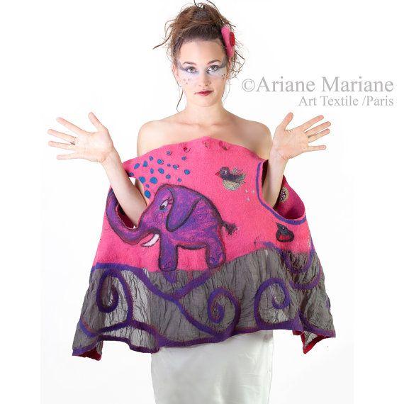 Pink Women Merino Wool Vest, Nuno Felted Wearable Art, Elephant, Bird, warm & cosy