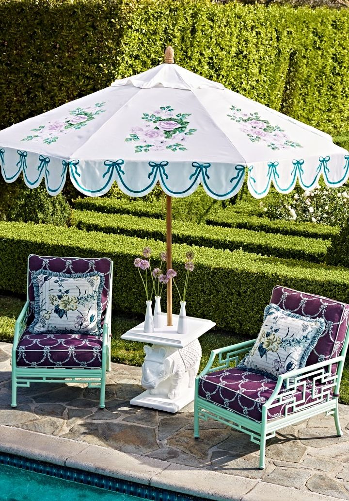Inspired by designer Carleton Varney's legendary fabrics, our exclusive Hampshire Designer Umbrella Canopy blooms with scalloping bows and the iconic cabbage rose, handpainted on ultra-durable Sunbrella acrylic.  | Frontgate: Live Beautifully Outdoors