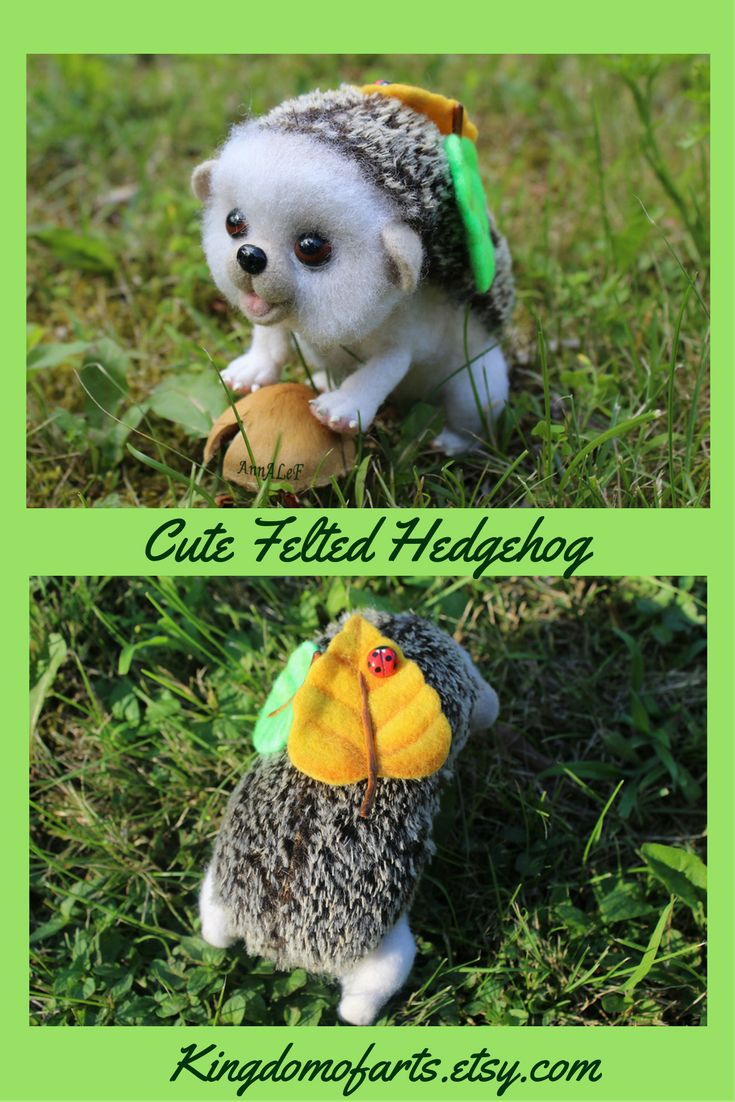 Felted baby hedgehog with leafs and ladybug on his back - cute natural toy.  ~ felted hedgehog cute animals felted animals diy realistic art realistic animal figurines realistic felted animals baby woodland hedgehog gifts hedgehog toys hedgehog art soft hedgehog natural toys felt hedgehog funny hedgehogs felt art felt animals felting wool animals diy wool animals felted