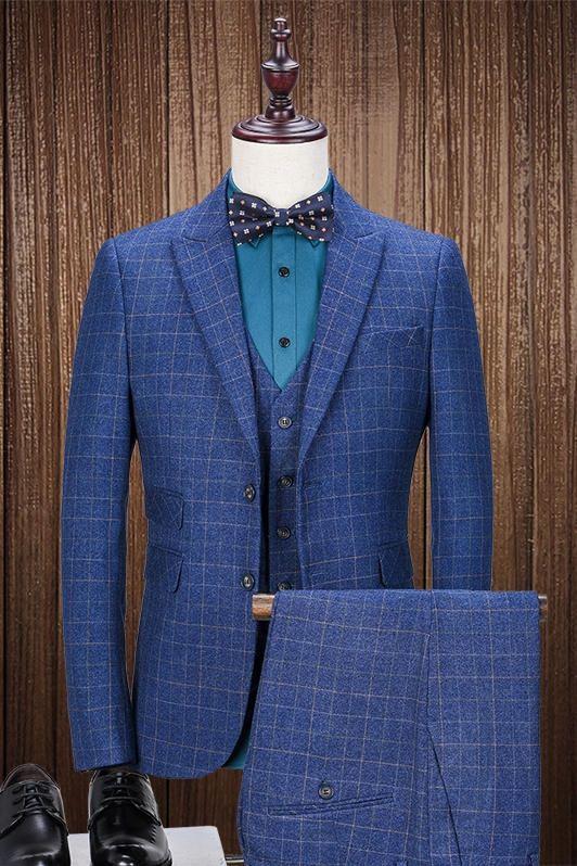 ec2f054bcd8 Latest Coat Pant Designs Navy Blue Tweed Pattern Suits Men Formal Slim Fit  Blazer Custom Prom Tuxedo Jackets Men 3 Piece Terbo 1