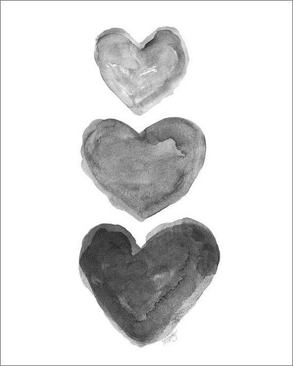 Corazón negro imprimir acuarela carbón arte por OutsideInArtStudio