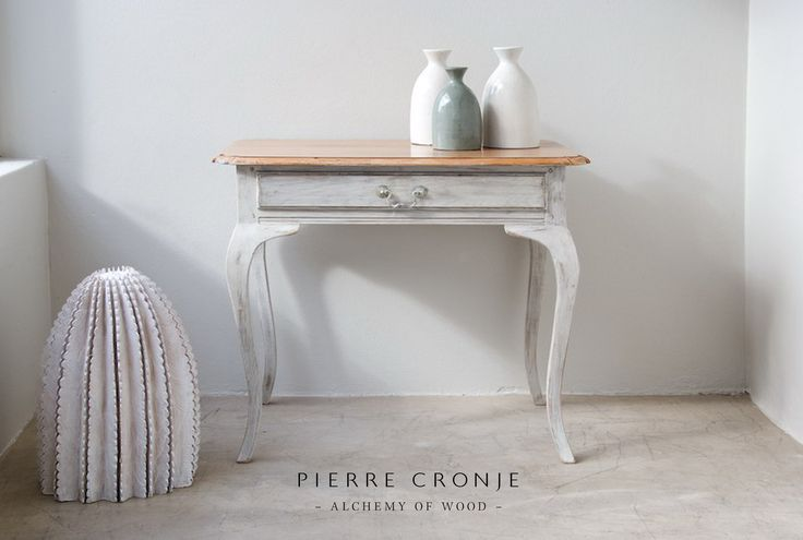 A Pierre Cronje Cabriole Leg occasional table with natural Oak top and white washed base