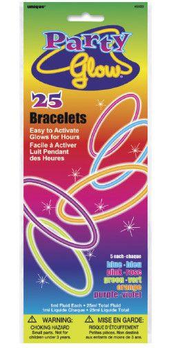 """Glow Bracelet ASST 8"""" 25ct"""