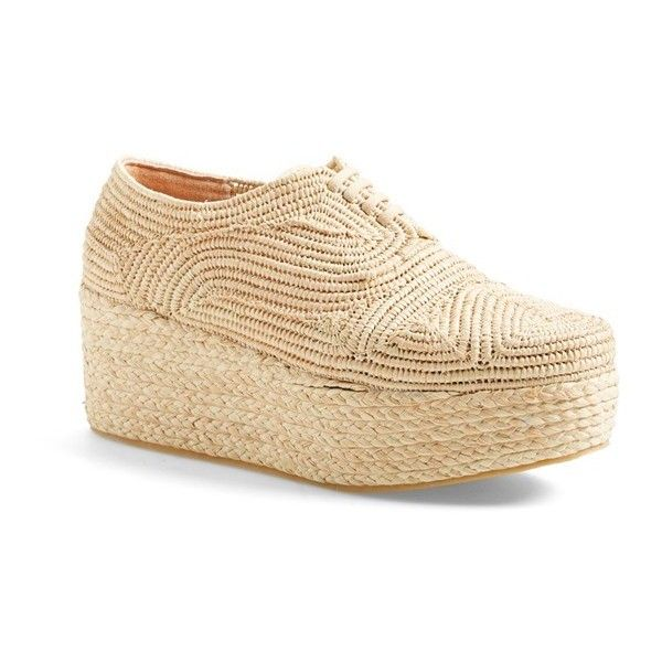 Robert Clergerie 'Pinto' Woven Platform Oxford (€505) ❤ liked on Polyvore featuring shoes, oxfords, beige, beige shoes, wedges shoes, beige oxfords, robert clergerie oxfords and wedge heel shoes