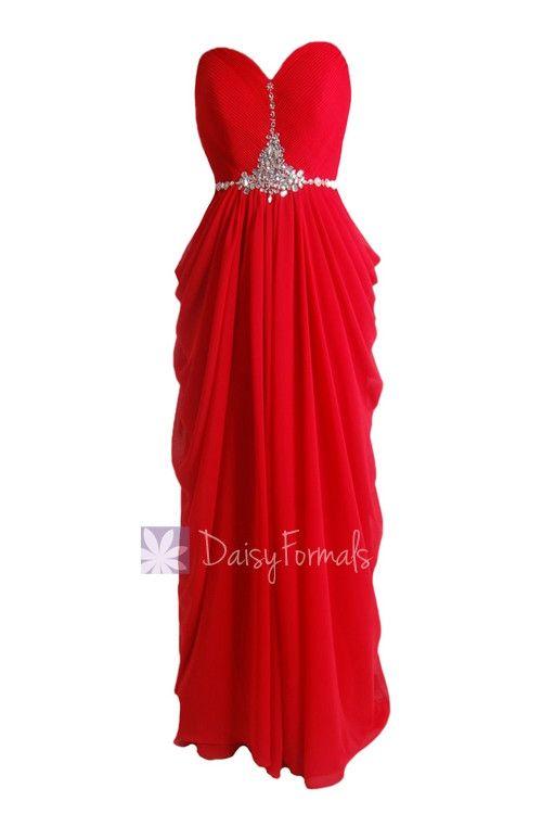 Graceful Sweetheart Red Beach Wedding Dress Beaded A-line Chiffon Evening Dress(PR72168)
