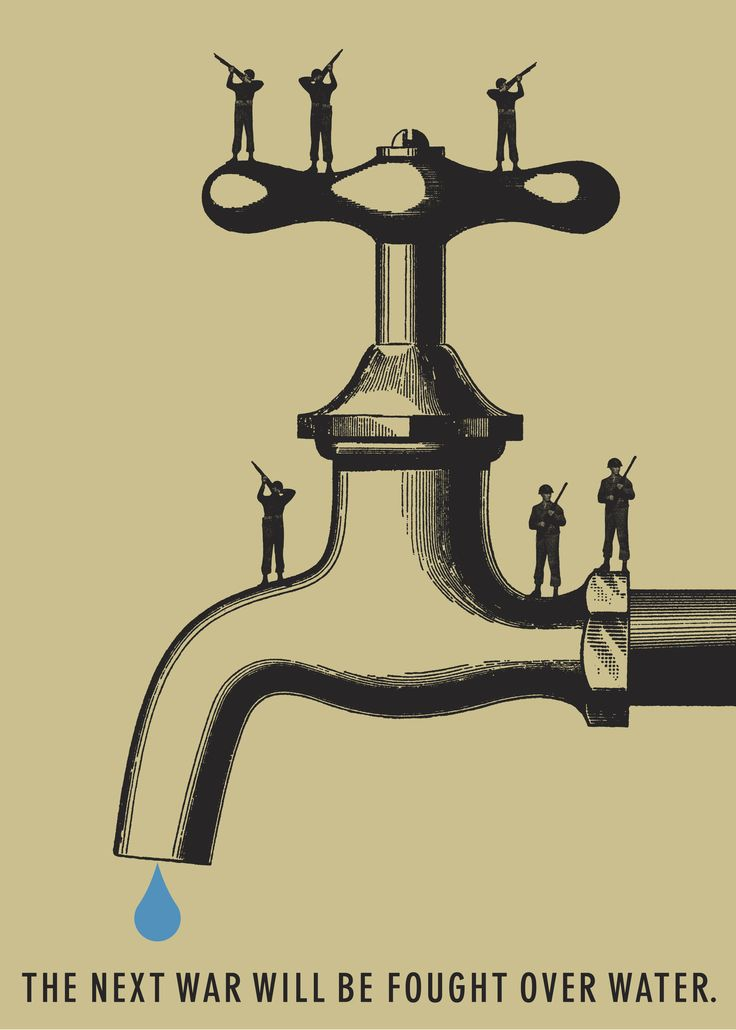 War for Water by Alice Drueding and Joe Scorsone, United States. While this poster is not about about climate change, global warming will contribute to increasing droughts and water shortages in many areas such as East Africa and the Middle East.