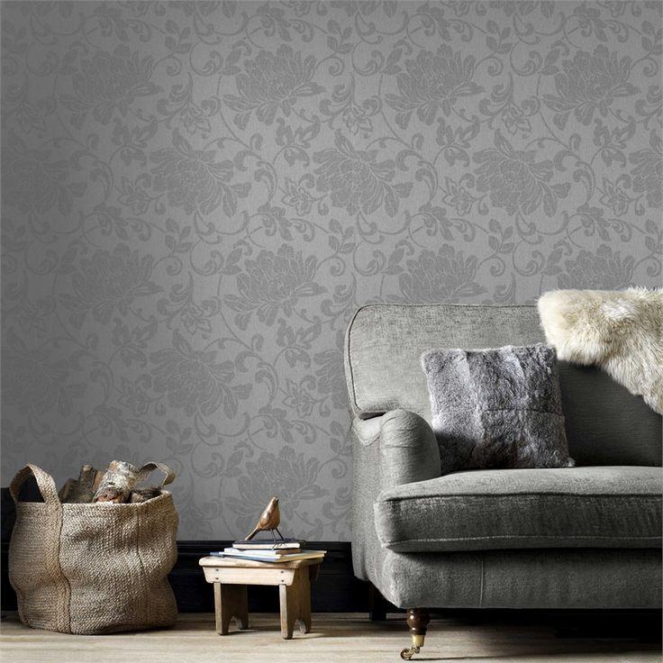 Superfresco Easy 52cm x 10m Jacquard Grey Wallpaper #fabrictexture #contemporarytwist #neutralpalette