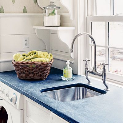 Faucet ideas: The New and Improved Utility Sink  Standard-issue plastic laundry tubs stain easily, lack under-sink storage, and are too deep to be practical. A better option is a 10- to 12-inch-deep square or rectangular stainless-steel sink with curved, easy-to-clean corners. Paired with a gooseneck faucet or one with a pull-out spray, the setup is perfect for doing delicates, washing hands, and filling buckets and watering cans. thisold house.com