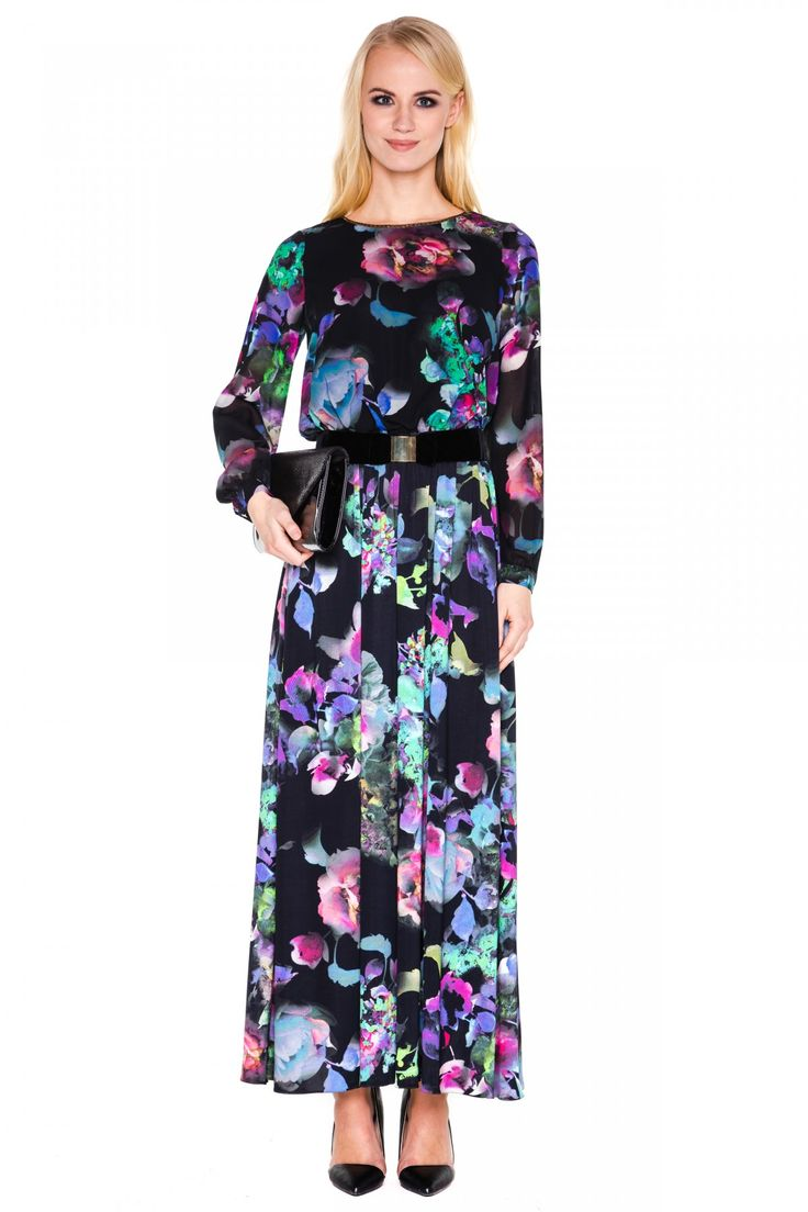 Długa sukienka w kwiaty - L'ame de Femme