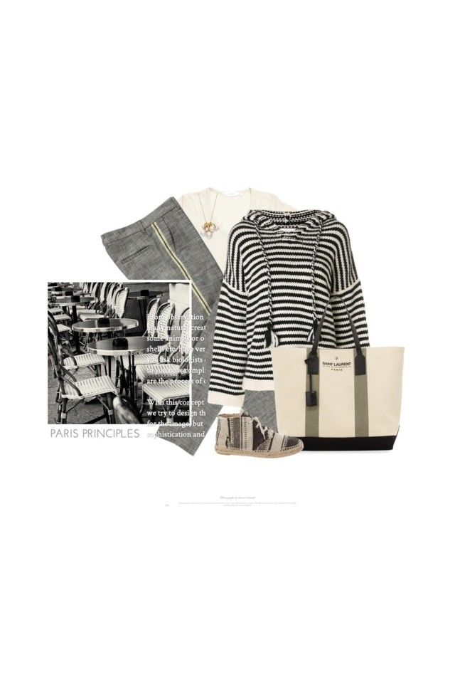 """""""Très Tôt Le Matin / Very Early In The Morning"""" by halfmoonrun ❤ liked on Polyvore featuring Isabel Marant, Ippolita, Yves Saint Laurent, Chanel, WALL, stripesonstripes and PatternChallenge"""