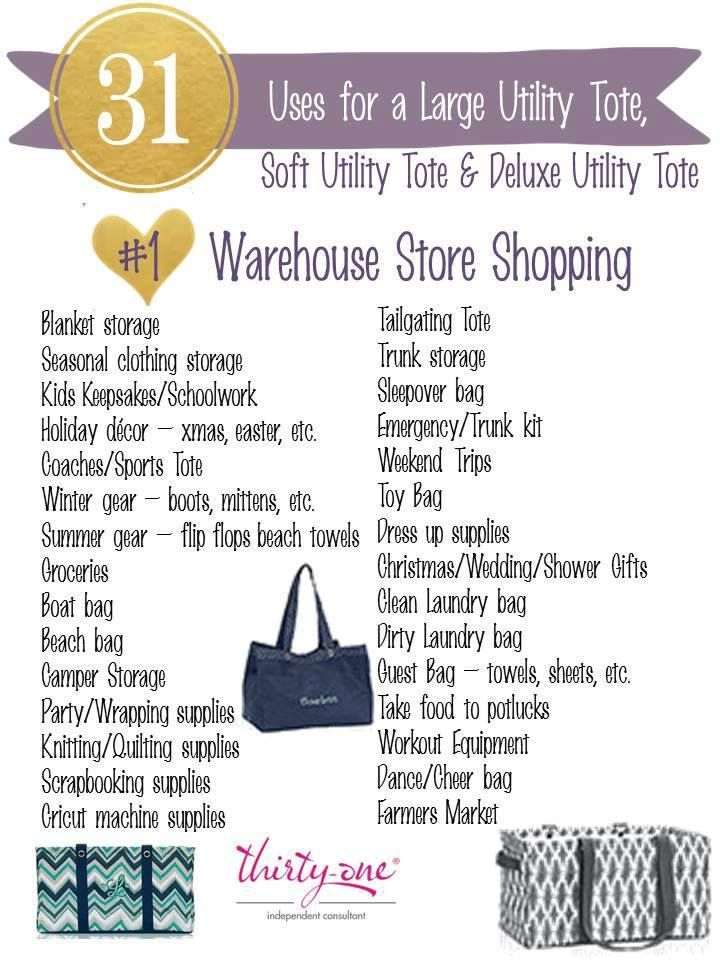 "31 Uses for the Large Utility Tote, Deluxe Utility Tote, and Soft Utility Toe Be sure to shop my online party ""Fall in Love with Thirty-One"""