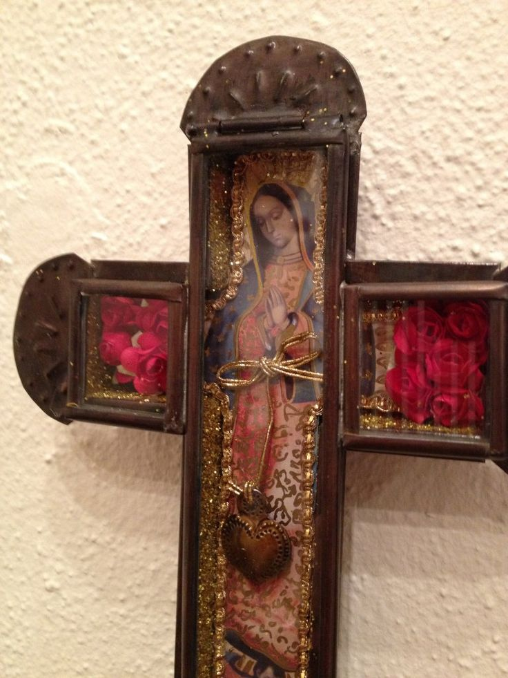 Tin Cross with Virgin of Guadalupe