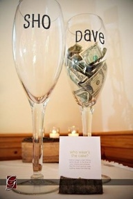 """Who Wears the Cake"" Game - stick out the champaign glasses (or whatever youre using) with the bride & groom names. Whoever ends up with more money, gets the cake shoved in the face when they cut it! Love this idea (& Easy way to get an extra buck for the honey moon!)"