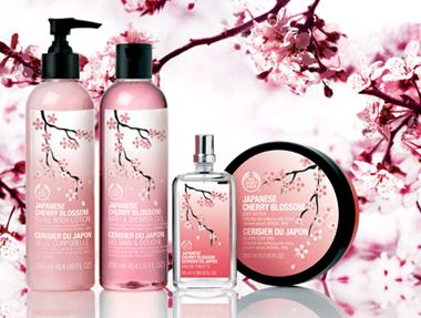 Oh so pretty: Body Shop Japanese Cherry Blossom scent and body butter, body puree, shower gel and a reed diff user to go with it. <3