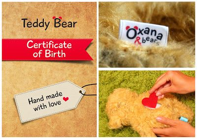 Every one of my Teddy bear has a beautiful red felted heart that I put into it - and this is the day of his birth.