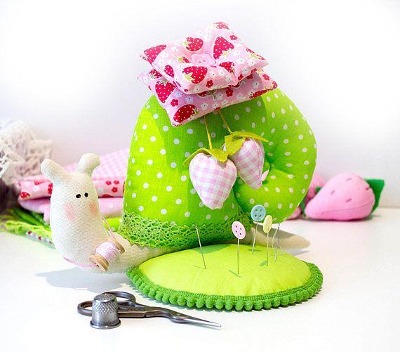 Snail gift Tilda snail Strawberry pincushion Sewing gift