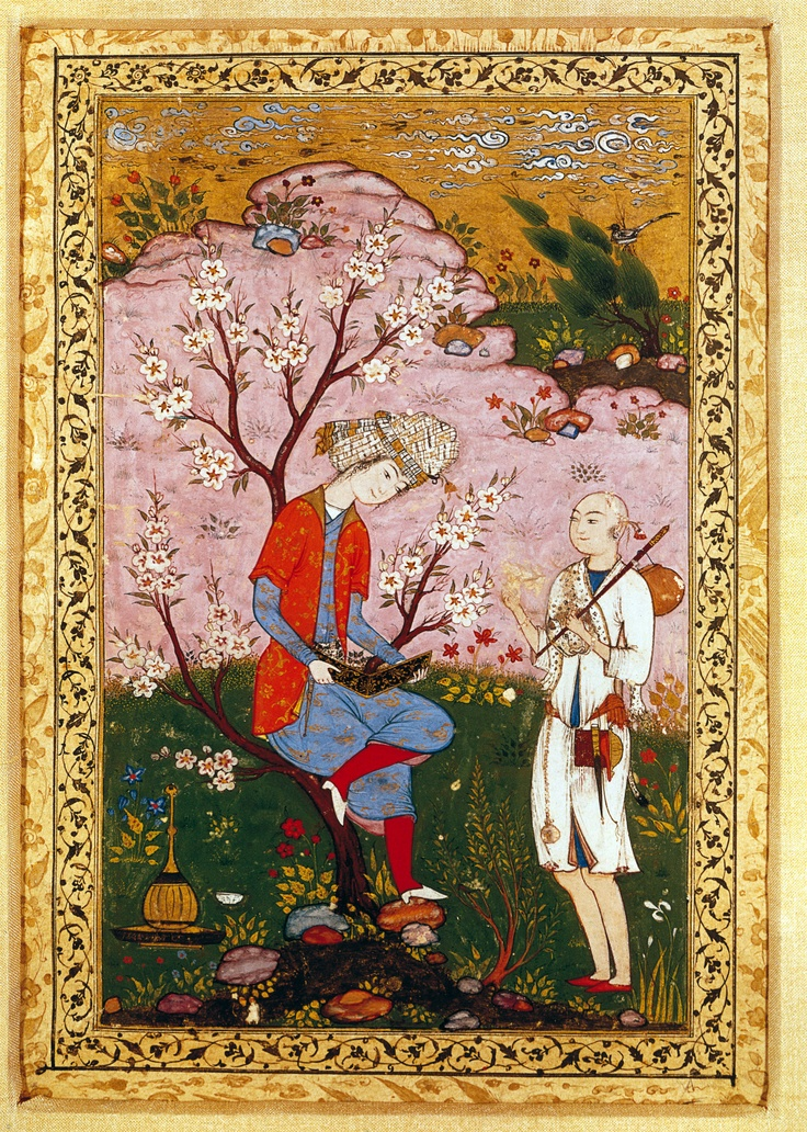 Youth & Dervish in Conversation (ca.1590 CE Safavid Miniature Painting, Persia)