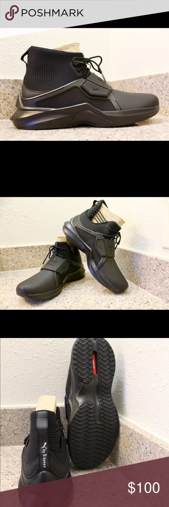 New Puma The Trainer Hi by Fenty Black Women Shoes Brand new shoes in new condition at an unbeatable price. Regular price is $190. I have a US size 7.5 and US size 7 in woman. I am giving the best price you will find them new. Check them out on the Puma website for size information so you don't buy it and it does not fit you. They will include the box. There is also a Fenty dust bag that will come with the shoes. Puma Shoes Sneakers
