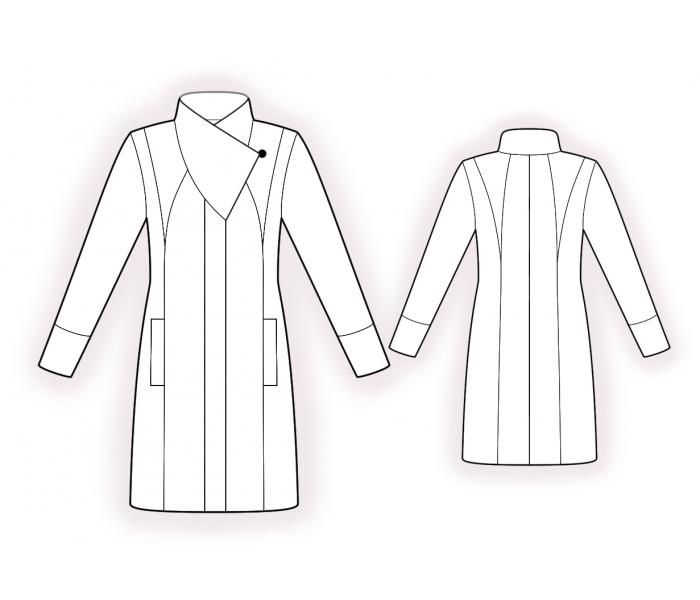 Coat With Shaped Collar Stand  - Sewing Pattern #4384 Made-to-measure sewing pattern from Lekala with free online download. Semi-fitted, Princess seams, Hidden button panel, Stand collar, Long sleeves, Set-in sleeves, Cuff sleeves, Above knee, Straight skirt, In-seam pockets