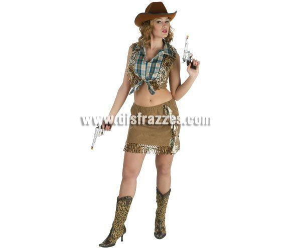 Disfraz barato de Vaquera o Pistolera sexy para mujer. Talla Standar. Incluye falda y camisa. Resto de accesorios NO incluidos