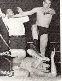Saturday afternoon wrestling...Mick Mcmanus was our favourite...not doing so good here