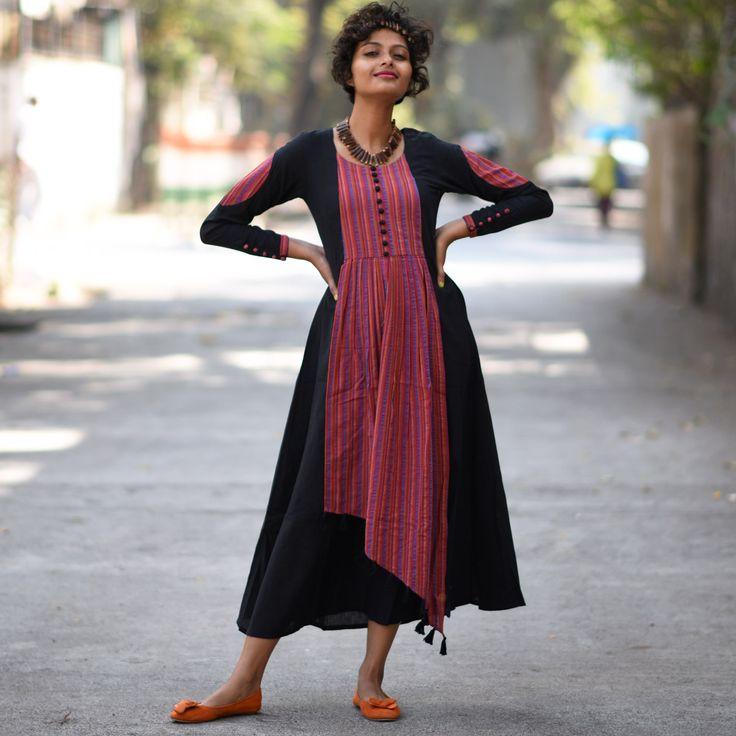 Black Khadi Dress with Multicoloured Dobby Details - Rustorange