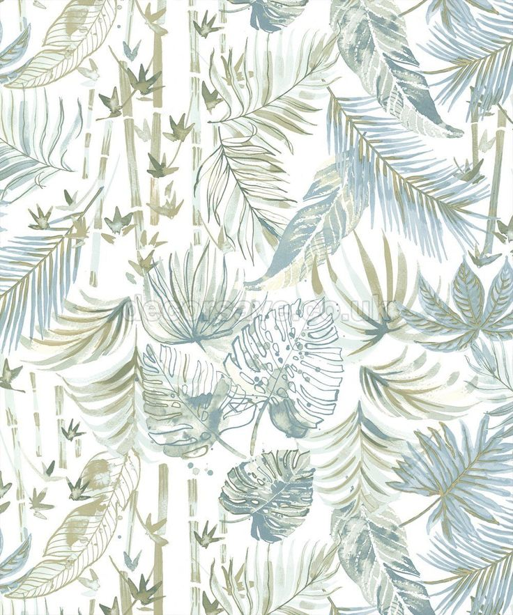 Holden K2 Jungle Leaf Soft Teal Wallpaper 11511 Metallic