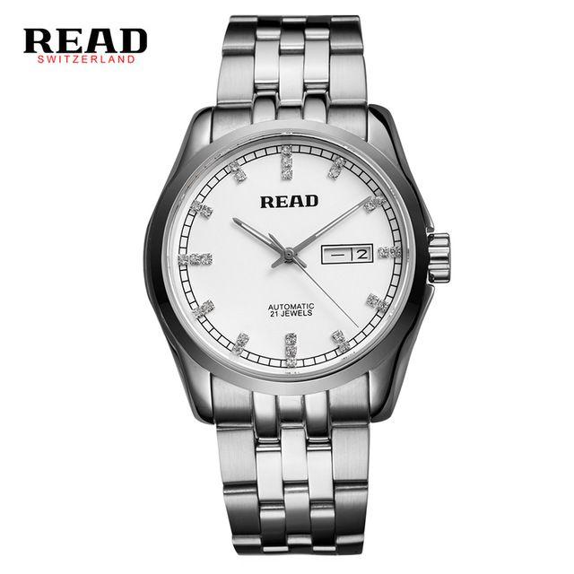 US $117.59 - Original READ Men Mechanical Watches Men Luxury Brand Full Steel Waterproof 50m Business Automatic Wristwatches For Men R8021