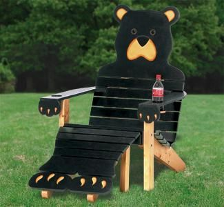 Black Bear Adirondack Chair Plans, Adirondack Chair Pattern. Now is the time to build this one of a kind Bear adirondack chair. Trace & cut patterns show you how to build everything!