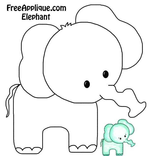 Elephant- Onesie or burp cloth decorating template