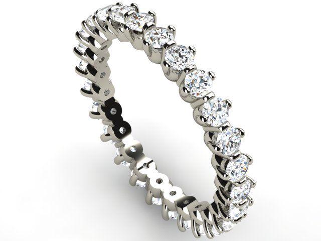 White Gold Full Eternity Diamond Ring 1.30 ct Vs1/H - Paul Jewelry
