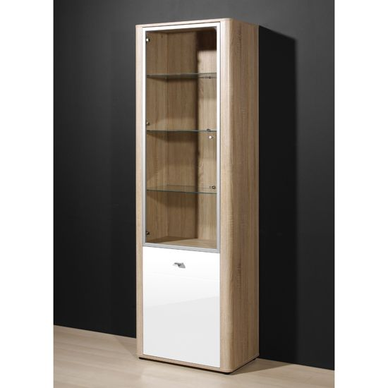 Monza Gloss White Oak Illuminated Display Cabinet 2140 157