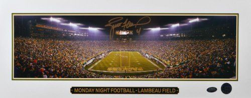 Brett Favre Autographed 7x18 Lambeau Field Photo - Favre Holo - Autographed NFL Photos by Sports Memorabilia. $109.99. Brett Favre Autographed 7x18 Lambeau Field Photo - Favre Holo. Each piece in this edition comes with a SportsMemorabilia numbered hologram to certify authenticity. Over the course of his career, Favre has led teams to eight division championships, five conference championships, two Super Bowl berths and one Super Bowl win. Brett Favre's stats say...